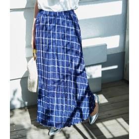 ロペピクニック/フレンチリネン混プリーツスカート/ブルー系/38
