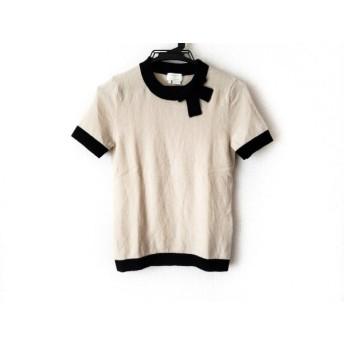 【中古】 ケイトスペード Kate spade 半袖セーター サイズS レディース 美品 ベージュ 黒 リボン