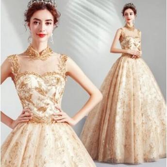 送料無料 豪華なドレス ウェディングドレス パーティドレス 二次会 結婚式 司会者 披露宴 花嫁 きれい ロングドレス 結婚式