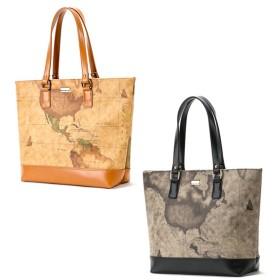【送料無料】 PRIMA CLASSE(プリマクラッセ) PSH7-6114 切り替え素材のトートバッグ ぷりまくらっせ マップ柄 地図柄 ベージュ バッグ 鞄 かばん カバン財布 ブランド