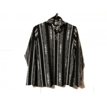 【中古】 バレンザ 長袖カットソー サイズ48 XL レディース 美品 黒 白 ラインストーン/ハイネック