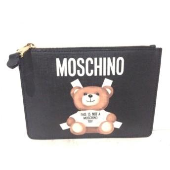 【中古】 モスキーノ MOSCHINO クラッチバッグ 美品 黒 白 マルチ COUTURE! PVC(塩化ビニール)