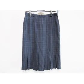【中古】 レリアン Leilian スカート サイズ9 M レディース ネイビー 黒 マルチ チェック柄