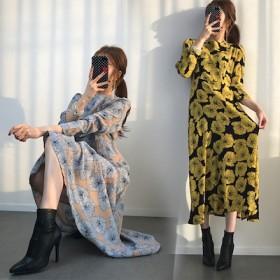 新しい女性のセクシー 韓国ファッション レトロ ビッグフラワーパフスリーブ ワンピース ロングスカート