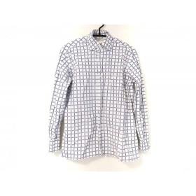 【中古】 ギローバー Guy Rover 長袖シャツ サイズS メンズ 白 ブルー チェック柄