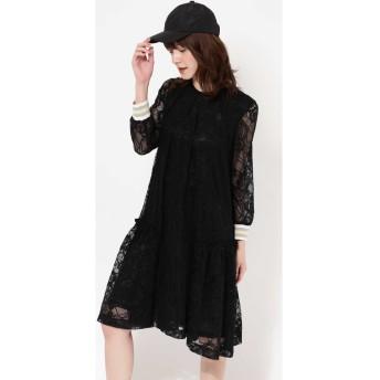 LACE STRIPE LINE DRESS BLACK