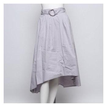 グリーンパークス Green Parks outlet ベルト付きテールカットスカート (ライトグレー)