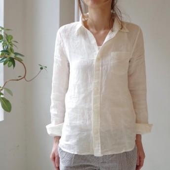 <残りわずか>リネンシャンブレースキッパーベーシックシャツ white