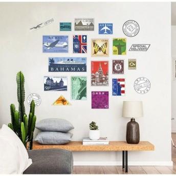 ウォールステッカー 壁紙シール 切手風 世界の切手風 切手風デザイン ステッカー 雑貨 壁 壁紙 シール リビング 小物 DIY リメイク リフォーム