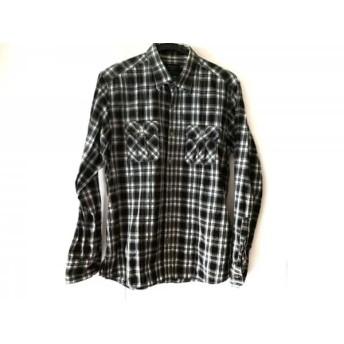 【中古】 エポカ EPOCA 長袖シャツ サイズ48 XL メンズ ライトグレー 黒 マルチ チェック柄