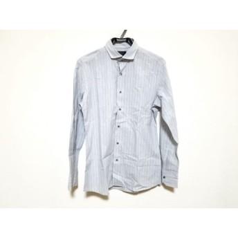 【中古】 エポカ EPOCA 長袖シャツ サイズ46 XL メンズ ライトグレー ブルー ストライプ