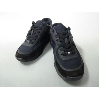 【中古】 シャネル CHANEL スニーカー 38 レディース G33745 黒 ココマーク レザー スエード 化学繊維