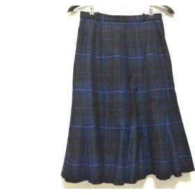 【中古】 レリアン Leilian スカート サイズ11 M レディース ダークネイビー ブルー マルチ チェック柄