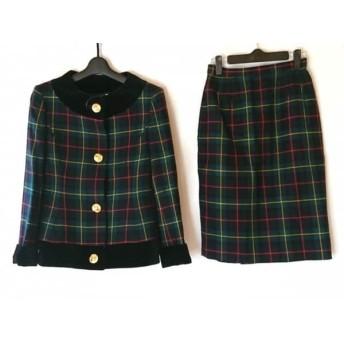 【中古】 ユキサブロウワタナベ スカートスーツ サイズ9 M レディース 美品 チェック柄/肩パッド