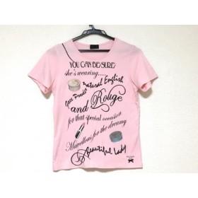 【中古】 ポールスミスブラック 半袖Tシャツ サイズM レディース ピンク 黒 マルチ 刺繍
