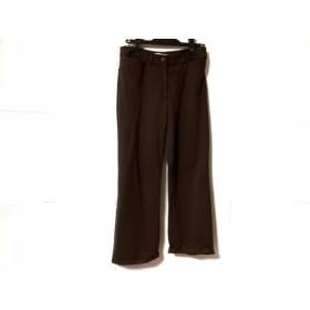【中古】 レオナール LEONARD パンツ サイズ40 M レディース 美品 ダークブラウン ラインストーン