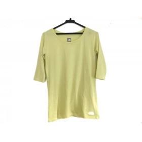 【中古】 ノースフェイス 七分袖Tシャツ サイズL レディース 美品 ライトグリーン 白 ボーダー