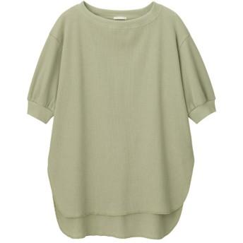 (GU)ワッフルオーバーサイズT(5分袖) GREEN S