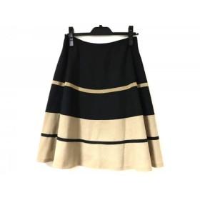 【中古】 エムズグレイシー M'S GRACY スカート サイズ38 M レディース 黒 ライトブラウン ボーダー