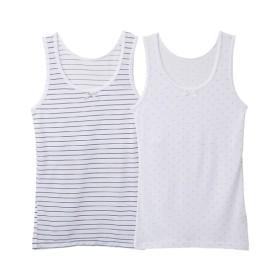 接触冷感 胸二重タンクトップ2枚組(女の子 子供服。ジュニア服) キッズ下着