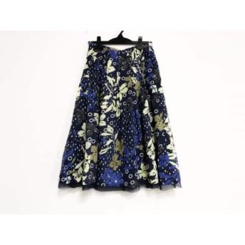 【中古】 ヒロコビス スカート サイズ11 M レディース ネイビー イエロー ブルー マルチ 花柄
