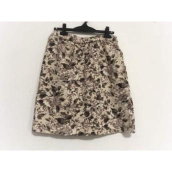 【中古】 ローズティアラ スカート サイズ42 L レディース ベージュ ダークブラウン マルチ 花柄