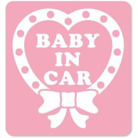 BABY in CARステッカー 【ハートリボン】マグネットタイプ (CHILD・KIDS・MAGO・ANGEL)