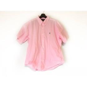 【中古】 ラルフローレン RalphLauren 半袖シャツ サイズLL メンズ 美品 ピンク 白 チェック柄
