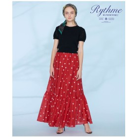 組曲 【Rythme KUMIKYOKU】ランダムドットプリントボイルスカート その他 スカート,レッド系5