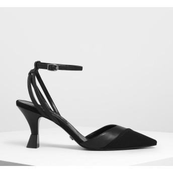 メッシュレザー アンクルストラップパンプス / Mesh Leather Ankle Strap Pumps (Black)