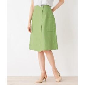 index(インデックス) 【洗える】リネン混ポケットラップスカート