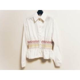 【中古】 エミリオプッチ 長袖シャツブラウス サイズ8 M レディース 白 ピンク マルチ 刺繍