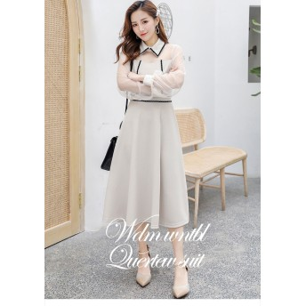 [55555SHOP] 2019春夏 小さな新鮮な甘い ワンピース 新しい春夏のセクションのレース 白い シフォンのドレス 女性 エレガント sweet系