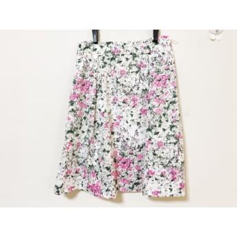 【中古】 フランコフェラーロ スカート サイズ3 L レディース 美品 白 ピンク マルチ 花柄