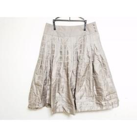 【中古】 ヒロココシノ HIROKO KOSHINO スカート サイズ40 M レディース グレーベージュ チェック柄