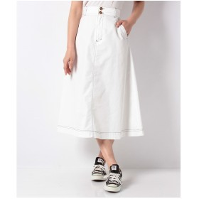 WEGO WEGO/チノサーキュラーミモレスカート(ホワイト)【返品不可商品】