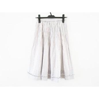 【中古】 ヒロコビス HIROKO BIS スカート サイズ9 M レディース 美品 ライトグレー マルチ ウエストゴム