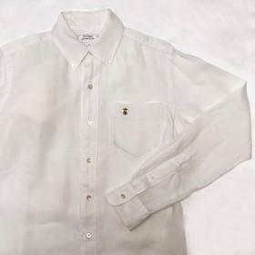 リネン ボタンダウン シャツ / ミツバチ刺繍 【メンズ】