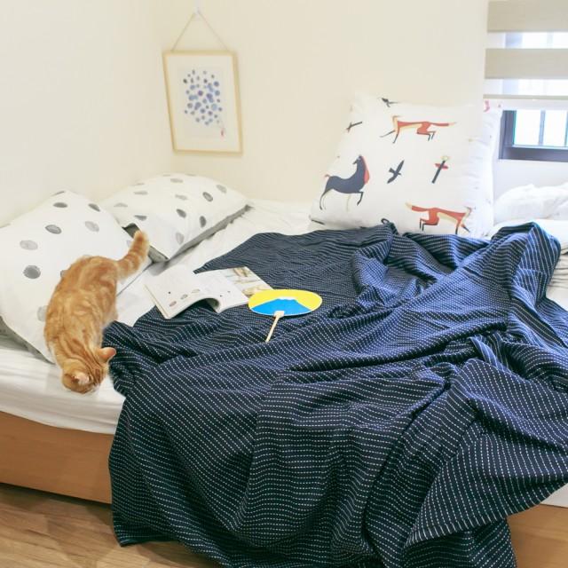 棉紗毛巾布薄被 100%純棉(藍/白)【棉床本舖】