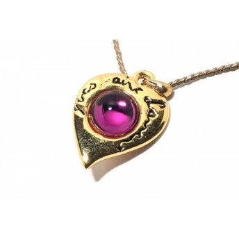【中古】 イヴサンローラン YvesSaintLaurent ネックレス 金属素材 ガラス ゴールド ピンク ハート