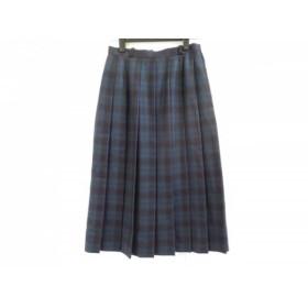 【中古】 レリアン Leilian スカート サイズ7 S レディース 黒 ネイビー グリーン チェック柄