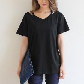 Tシャツ - hhh-style Tシャツ Vネック ゆるTシャツ ティーシャツ シャツ 半袖 プラスサイズ トップス カットソー シンプル 大きいサイズ 無地シンプル ドロップショルダー カッティング 肌見せ ゆったり ブラック ホワイト グレー 黒 白 灰色 インナー hhh