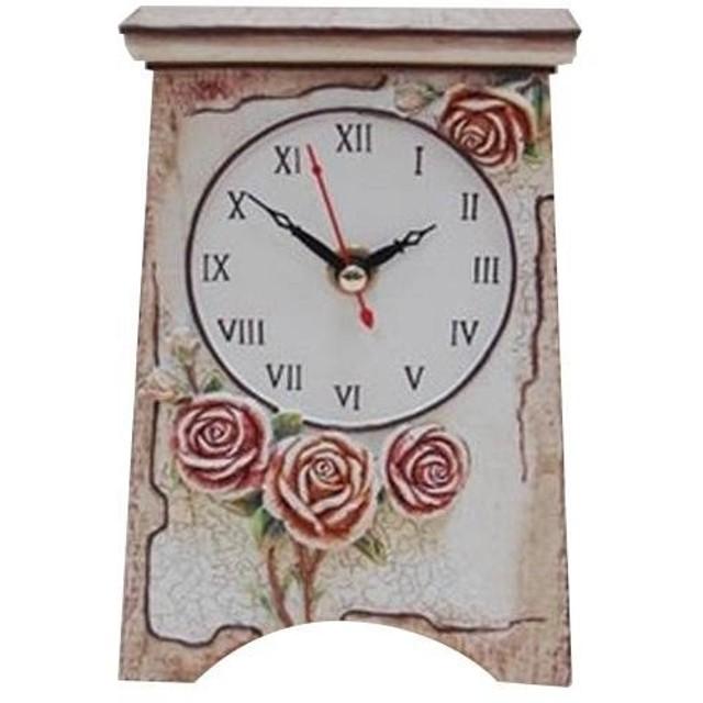 かわ畑 置き時計 ローズ ピンク 1002FBX011
