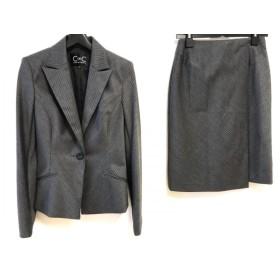 【中古】 クードシャンス スカートスーツ サイズ36 S レディース ダークグレー 白 肩パッド