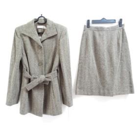 【中古】 ルイシャンタン スカートスーツ サイズ38 M レディース 美品 ダークグレー アイボリー