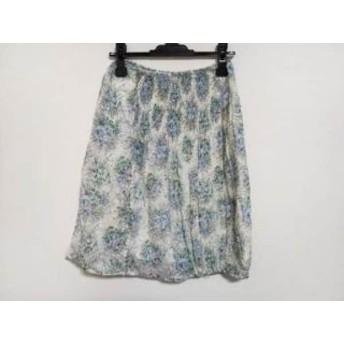 【中古】 ツモリチサト TSUMORI CHISATO スカート サイズ2 M レディース アイボリー ブルー マルチ 花柄