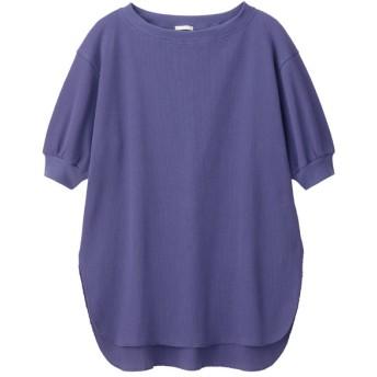 (GU)ワッフルオーバーサイズT(5分袖) BLUE S
