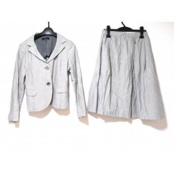 【中古】 レキップ ヨシエイナバ L'EQUIPE YOSHIE INABA スカートスーツ レディース 白 黒 ストライプ
