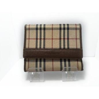 【中古】 バーバリー 3つ折り財布 ベージュ ダークブラウン マルチ ナイロンジャガード レザー