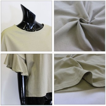 Tシャツ - CELL TOPS 袖フリルドロップショルダートップス Tシャツ ドルマン ゆったり 無地 シンプル フリルスリーブ